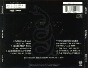 Metallica - Metallica (Black Album) 1991_back